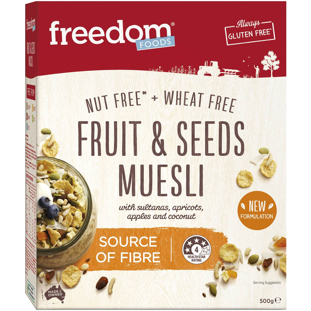 Freedom Foods Cereal Muesli Gluten And Wheat Free 500g