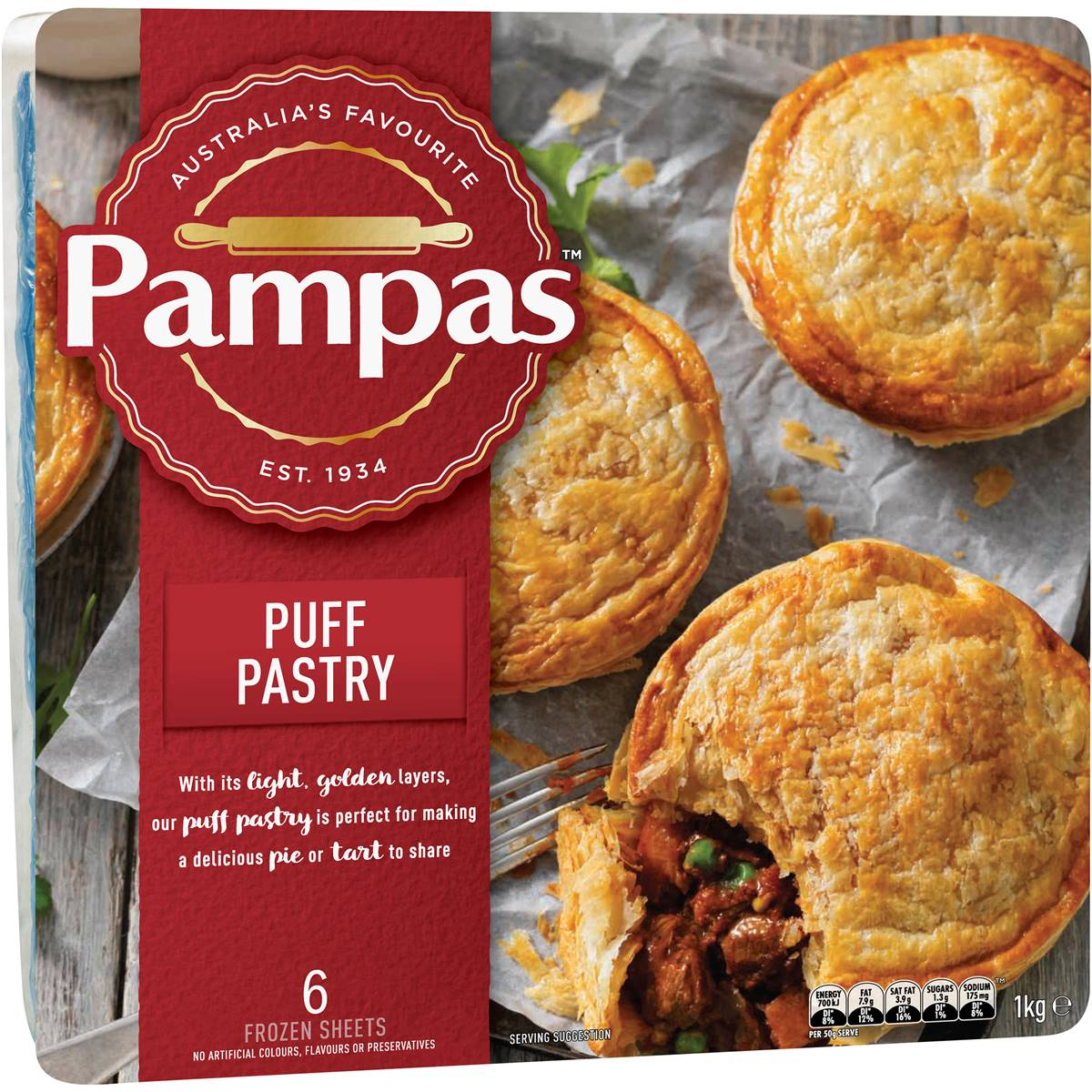 Pampas Puff Pastry 6 Sheets 1kg Woolworths