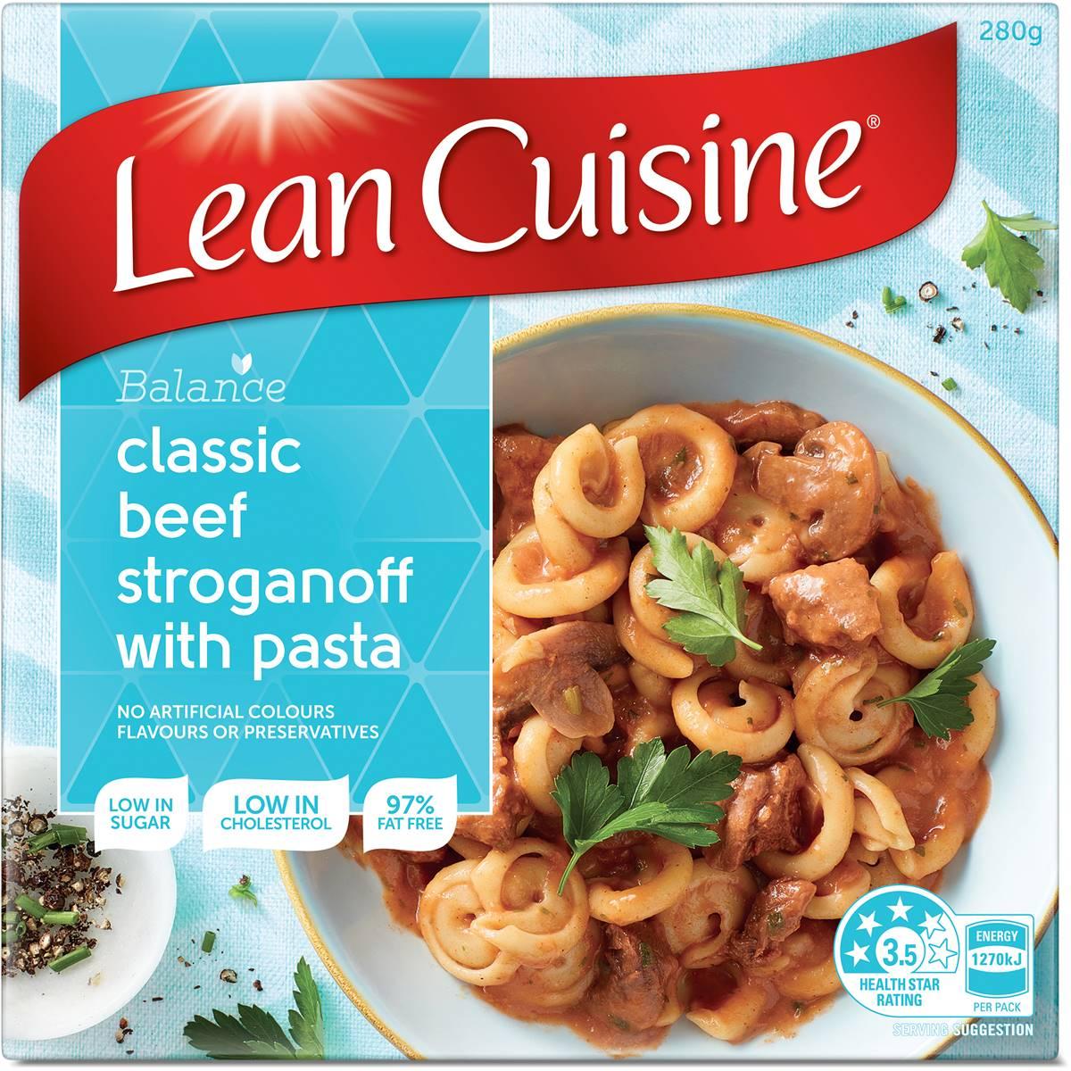 Woolworths lean cuisine balanced serve beef stroganoff for Average price of lean cuisine