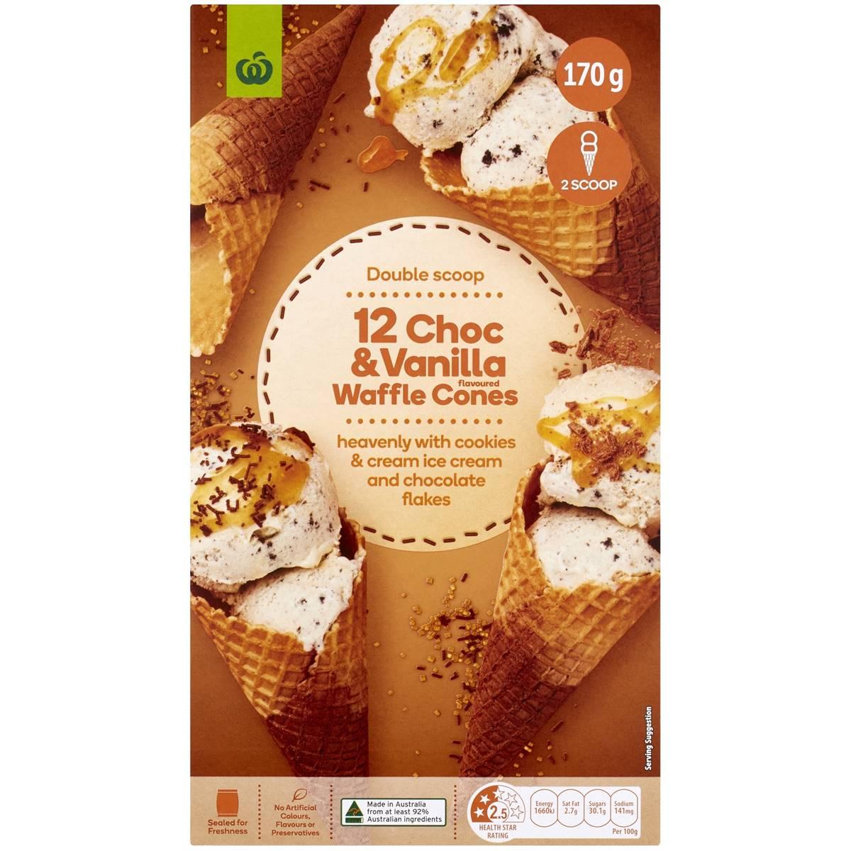 Woolworths Select Natural Choc & Vanilla Waffle Cones 12pk ...