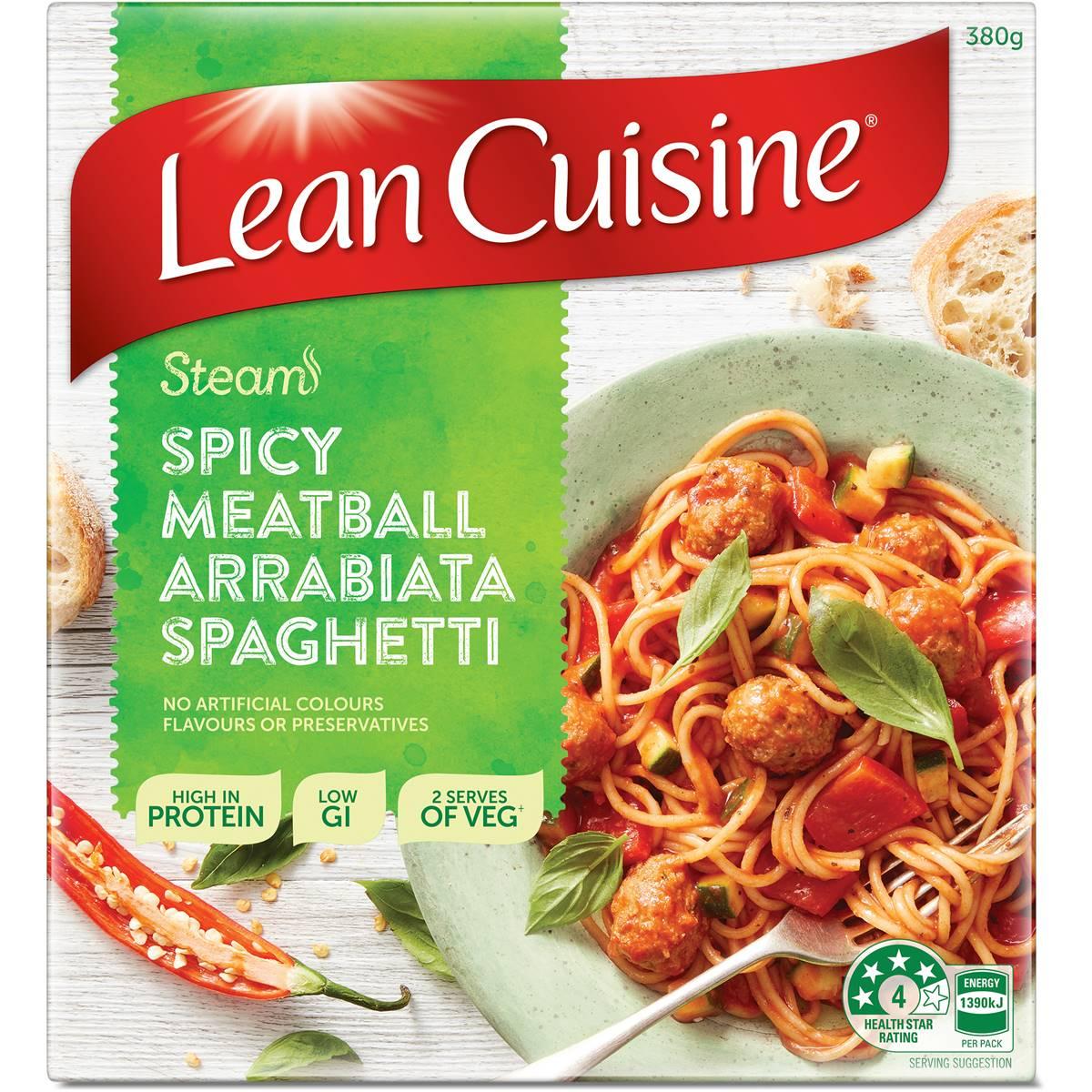 Woolworths lean cuisine steam meatball arrabbiata for Average price of lean cuisine