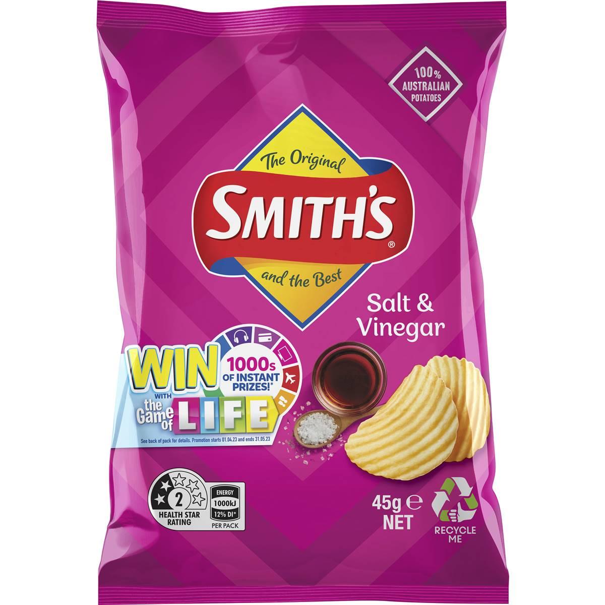 smiths chips single pack salt amp vinegar 45g woolworths