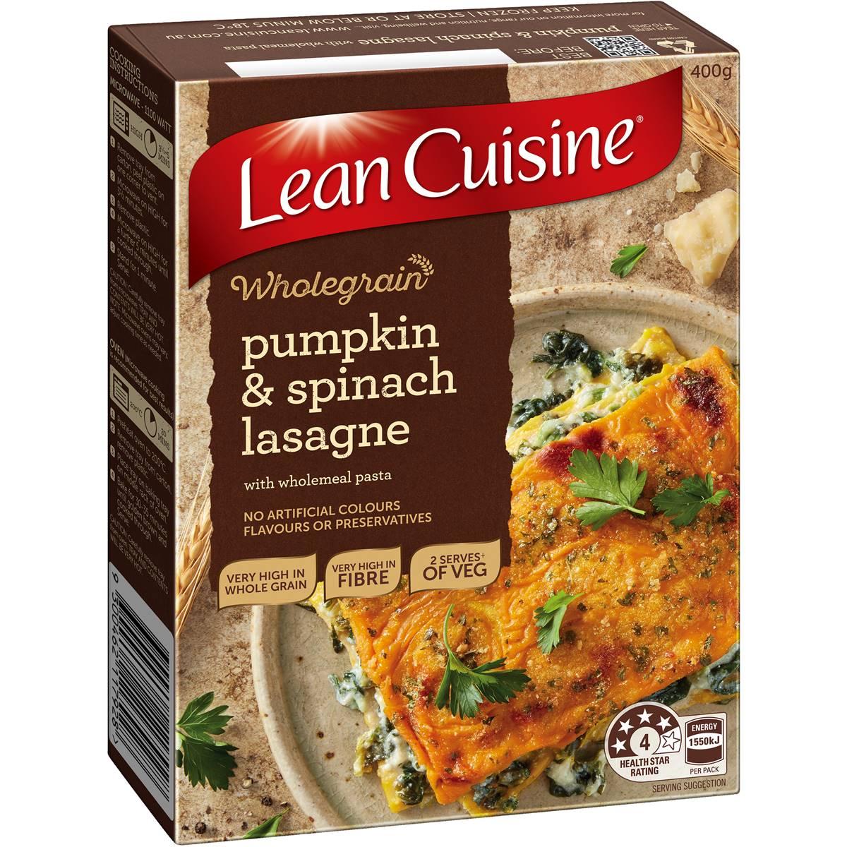 Lean cuisine wholegrain lasagna pumpkin spinach ricotta for Are lean cuisine meals healthy